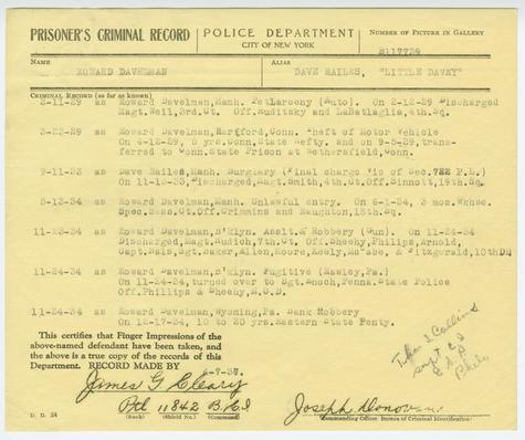 Prisoner's Criminal Record of Howard Davelman, alias Dave Hailes, alias Little Davey