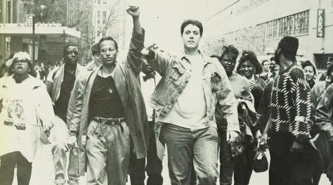 1989–90 protests: students marching down W. 59th St.