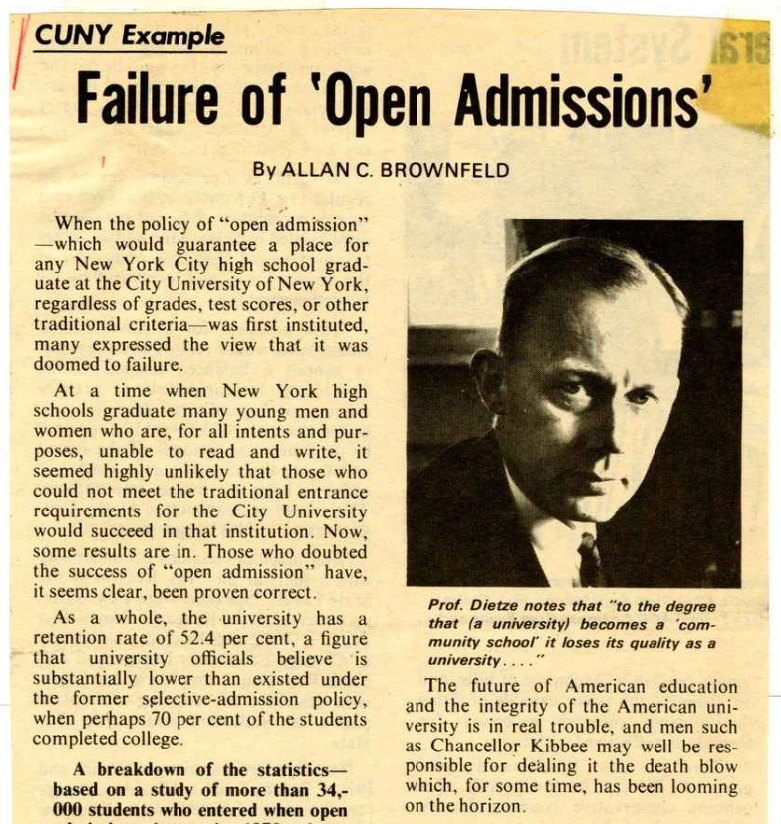 Failure of Open Admissions - Op-ed clipping from Human Events, Oct. 12, 1974